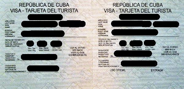 Tarjeta de turista (karta turysty, czyli kubański odpowiednik wizy)