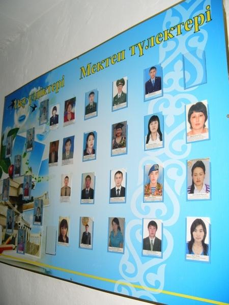 Tablica ze zdjęciami niektórych absolwentów szkoły