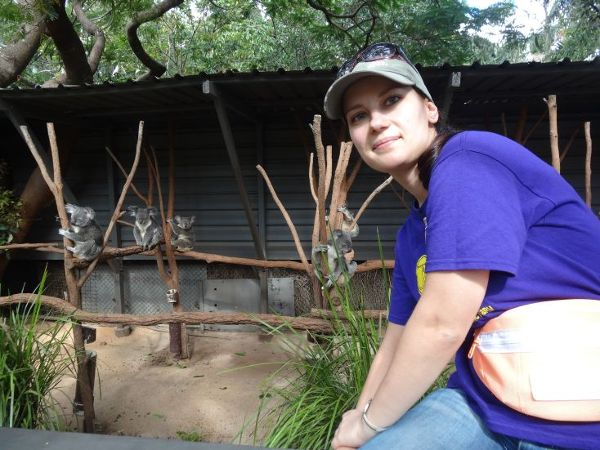 Wolontariuszka Gosia w trakcie przerwy w pracy