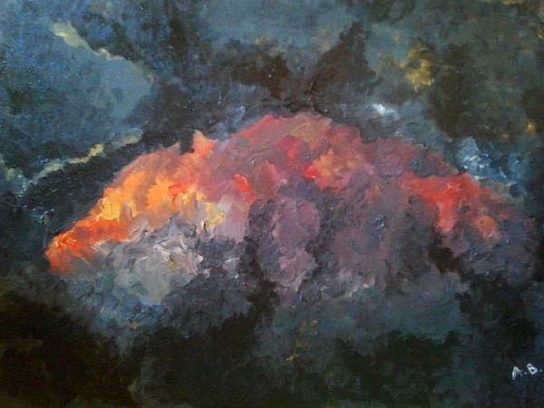 Obraz jaki namalowałam po powrocie z wyprawy, szczyt Aconcagui o zachodzie
