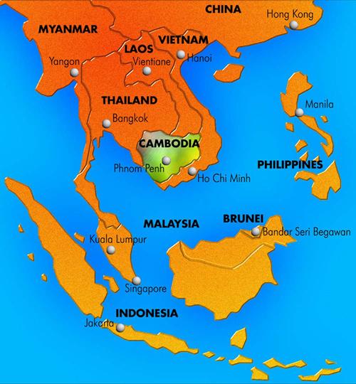 Położenie Królestwa Kambodży. Mapa Azji Płd.-Wsch.