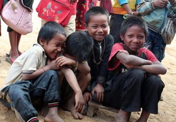 W jednej z laotańskich wiosek.