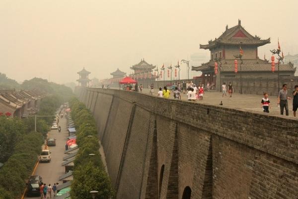 Azja, Chiny, Xian, Mury miejskie