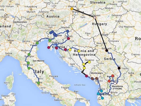 Trasa bałkańskiej wyprawy