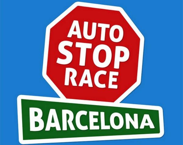 Autostop Race, plakat promujący trzecią edycję autostopowego wyścigu z metą w Barcelonie.