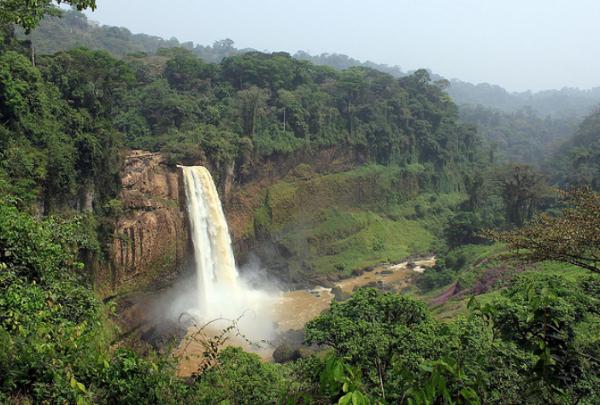 """Wodospad Ekom Nkam, mierzący 80 metrów i występujący w brytyjskim filmie przygodowym pod tytułem """" Greystoke: Legenda Tarzana, władcy małp"""",Kamerun"""