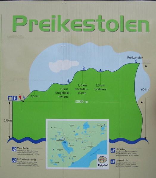 Tablica informacyjna przy wejściu na szlak na Preikestolen