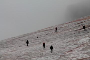 Kazbek, marsz po lodowcu