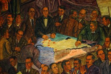 """Fragment fresku """"Republika"""" Pedro Nel Gómeza przedstawiającego narodziny nowego narodu."""