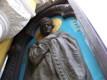 Księżna Olga, święta Olga, Olga Kijowska. Rzeźba na jednej ze ścian Soboru św. Włodzimierza w Kijowie