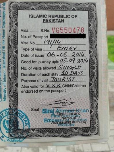 Wiza do Pakistanu już gotowa!
