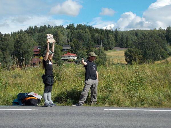 Początki naszego stopowania w Norwegii