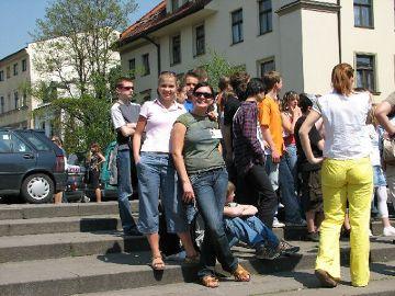 Z grupą, gdzieś w Krakowie