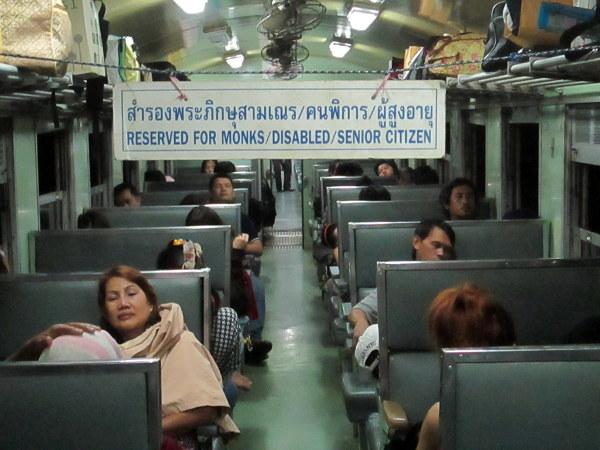 Nocny pociąg w Tajlandii.