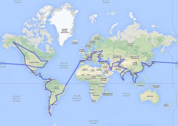 Trasa wyprawy dookoła świata