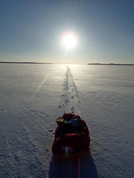 Na jeziorze Inari, dzienny dystans robię dużo powyżej średniej.