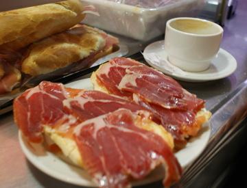 Jamon Iberico y cafe con leche