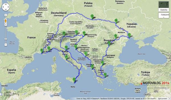 Trasa motocyklowej wyprawy