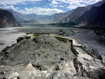 Dolina Indusu. Zdjęcie wykonane z historycznego fortu w Skardu