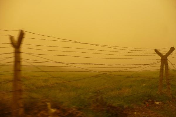 Burza piaskowa na granicy turecko-syryjskiej, którą w końcu udało nam się przekroczyć