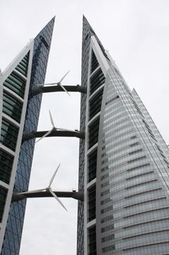 Bahrain World Trade Center- kompleks bliźniaczych wieżowców o wysokości 240 metrów. Budynek został otwarty w 2008 i posiada 50 kondygnacji.