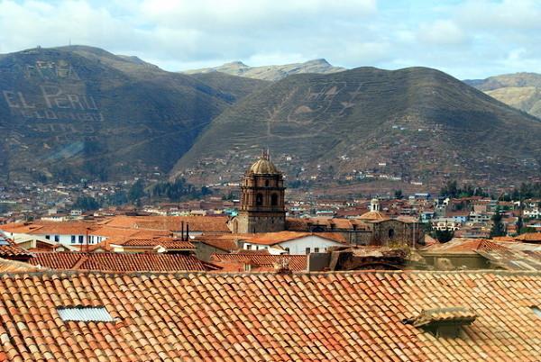 Widok z okna hostelu na Cuzco
