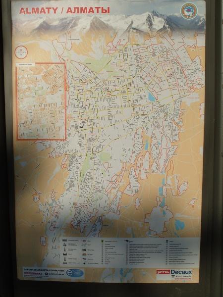 Odwrotna orientacja mapy miasta Ałmaty