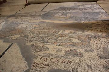 Droga królewska – Madaba – bizantyjskie mozaiki – Mozaikowa mapa biblijnych miejsc od Libanu po Egipt I w.n.e