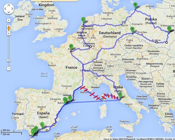 Mapa trasy. Google maps nie mogło wyznaczyć trasy promu, stąd drobna korekta na trasie Rzym-Barcelona.