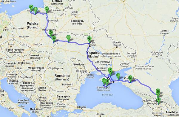 Przebieg trasy Trójmiasto-Tbilisi